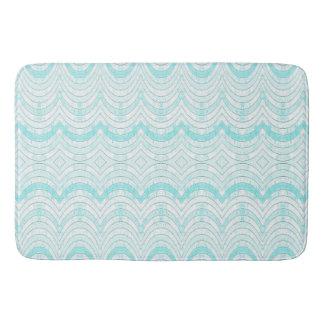 Wavy Aqua Geometric Pattern Bath Mat