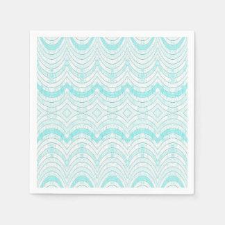 Wavy Aqua Geometric Pattern Paper Napkin