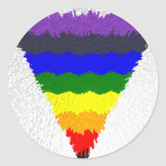 Wavy Block Fibres Rainbow Triangle Funnel Classic Round Sticker