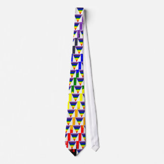 Wavy Block Fibres Rainbow Triangle Funnel Tie