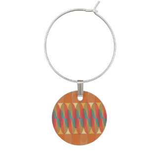 Wavy color stripe wine charms