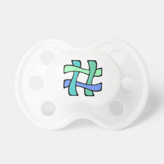 Wavy Colorful # Hashtag Blue Green Social Media Pacifiers