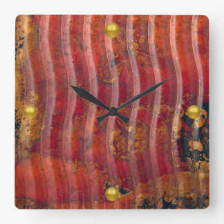 Wavy Copper Square Wall Clock