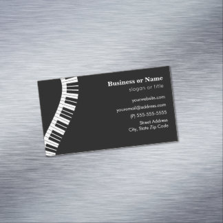 Wavy Curved Piano Keys Magnetic Business Card