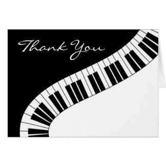 Wavy Curved Piano Keys Thank You Note Card