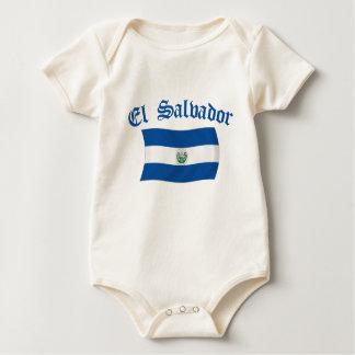 Wavy El Salvador National Flag Baby Bodysuit