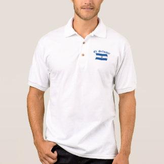 Wavy El Salvador National Flag Polo Shirt