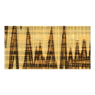 Wavy golden abstract picture card