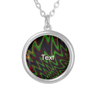 Wavy Green Orange Abstract Round Pendant Necklace