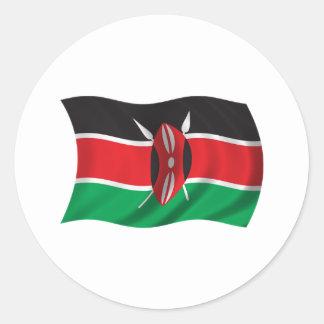 Wavy Kenya Flag Classic Round Sticker