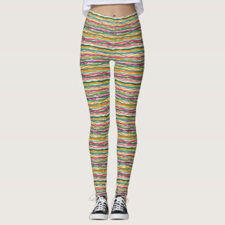 Wavy Lines Earth Tone Hippie All Over Print Leggings