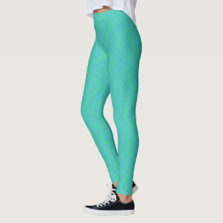Wavy Lines in Blue and Green Leggings