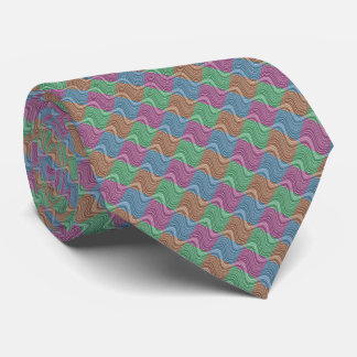 Wavy Lines in Blue/Brown/Green/Purple Tie