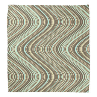 Wavy Lines in Light Brown/Beige/Turquoise Blue Bandana