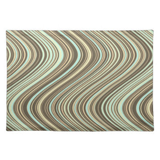 Wavy Lines in Light Brown/Beige/Turquoise Blue Placemat