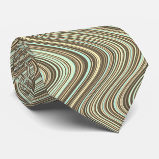 Wavy Lines in Light Brown/Beige/Turquoise Blue Tie