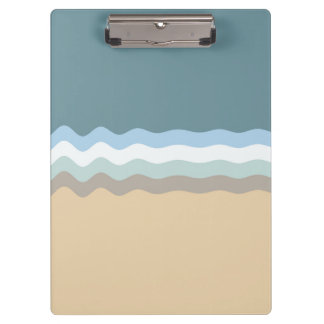 Wavy Lines - Light Brown/Sand/Beige/Turquoise/Blue Clipboard