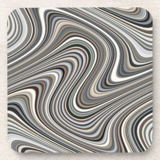 Wavy Lines - Light Brown/Sand/Beige/Turquoise/Blue Coaster