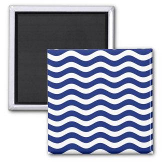 Wavy Navy Stripes decor Square Magnet