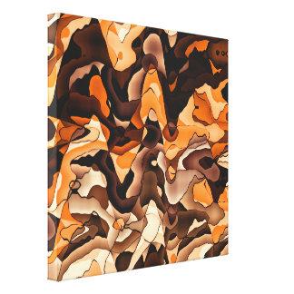 Wavy orange and brown canvas print