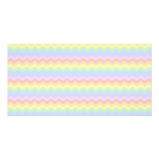 Wavy Pastel Rainbow Stripes Personalized Photo Card