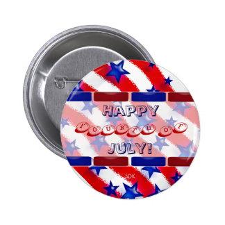 Wavy Patriotic Blue Stars Over Red & White Stripes 6 Cm Round Badge