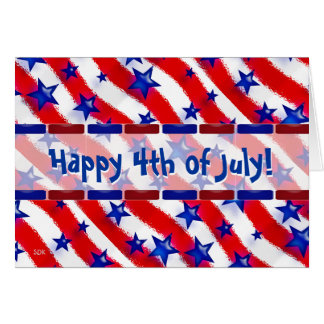 Wavy Patriotic Blue Stars Over Red & White Stripes Note Card