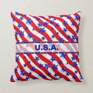 Wavy Patriotic Blue Stars Over Red & White Stripes Cushion