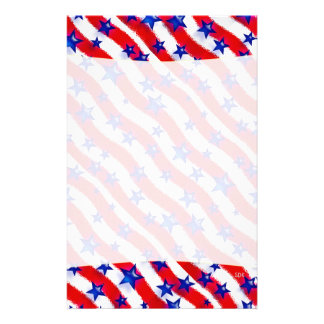 Wavy Patriotic Blue Stars Over Red & White Stripes Customised Stationery