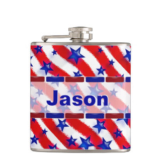 Wavy Patriotic Blue Stars Over Red & White Stripes Hip Flask