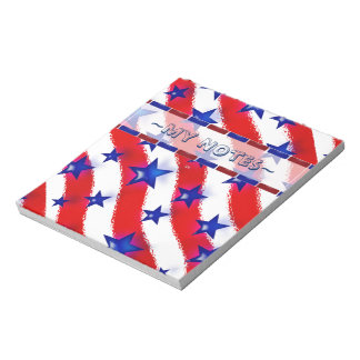 Wavy Patriotic Blue Stars Over Red & White Stripes Memo Note Pad