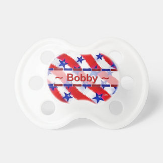 Wavy Patriotic Blue Stars Over Red & White Stripes Pacifier