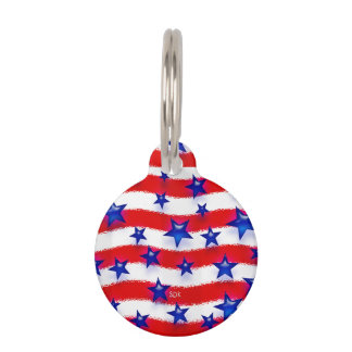 Wavy Patriotic Blue Stars Over Red & White Stripes Pet Name Tag