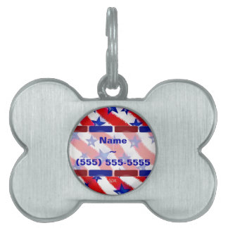 Wavy Patriotic Blue Stars Over Red & White Stripes Pet Name Tags