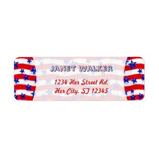 Wavy Patriotic Blue Stars Over Red & White Stripes Return Address Label