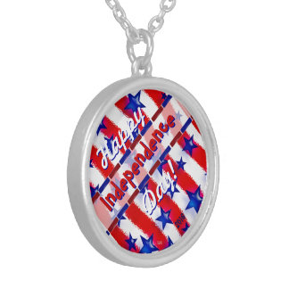 Wavy Patriotic Blue Stars Over Red & White Stripes Round Pendant Necklace