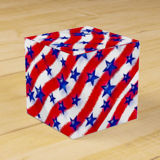 Wavy Patriotic Blue Stars Over Red & White Stripes Wedding Favour Box