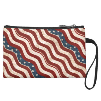 Wavy Patriotic Pattern Sueded Mini Clutch Wristlet