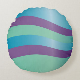 Wavy Purple And Turquoise Stripes Round Cushion