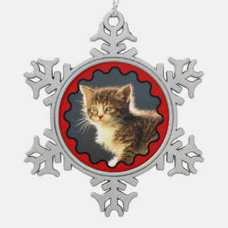 Wavy Red Border Photo Snowflake Ornament
