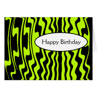 Wavy Stripe - Black and Green I Cards