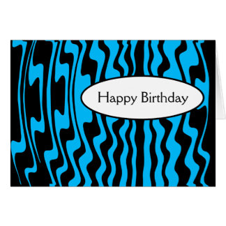 Wavy Stripe - Blue and Black Greeting Card