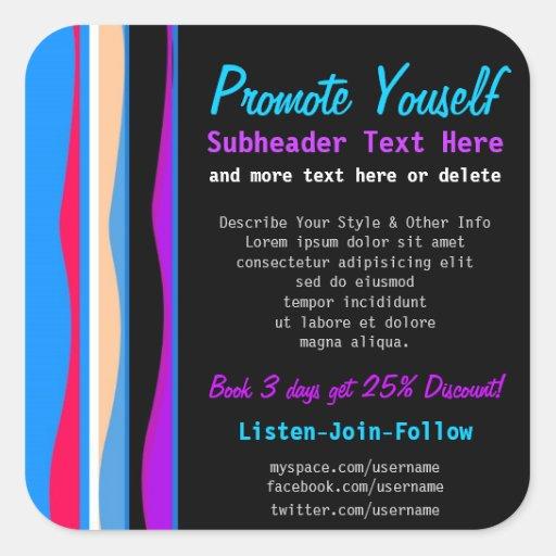 Wavy Stripes Blue Pink Product Label Promo Sticker