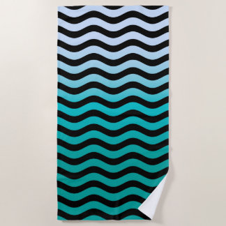 Wavy Turquoise Stripes Decor on a Beach Towel