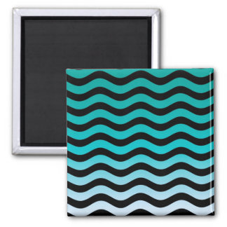 Wavy Turquoise Stripes Pattern Square Magnet