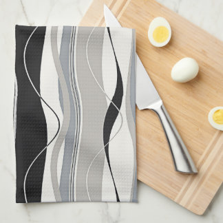 Wavy Vertical Stripes Black Grey & White Tea Towel