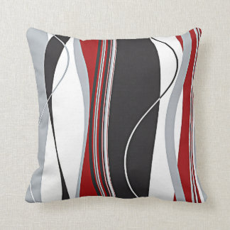 Wavy Vertical Stripes Red Black White & Grey Cushions