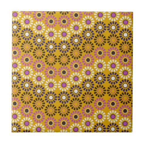 Wavy Yellow and Purple Circle Flowers Pattern Tiles