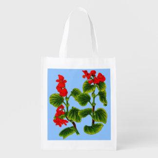 wax begonia print wax begonias print reusable grocery bag