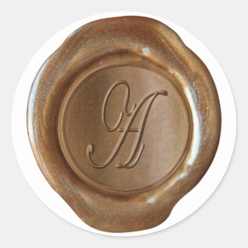 Wax Seal Monogram - Copper - Script A - Round Sticker